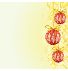 Bulb and ribbon Christmas background vector image