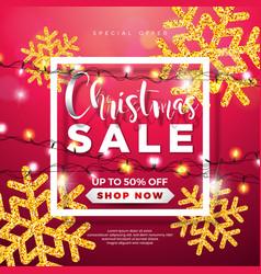 christmas sale design with lights garland vector image