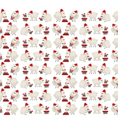 Christmas seamless pattern with sheep in santa cap vector image