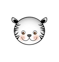 colorful picture face cute tiger animal vector image