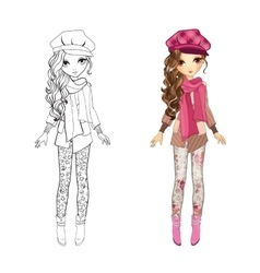 Coloring Book Of Girl In Coat vector image