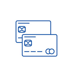 credit cards line icon concept credit cards flat vector image