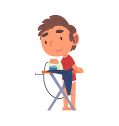 Cute boy ironing his clothes daily routine vector