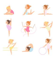 cute little ballerinas doing exercises set girls vector image