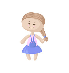 cute soft doll in a blue dress with braid sewing vector image