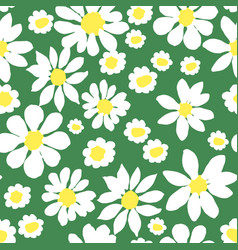 Daisy allover green seamless repeat pattern vector