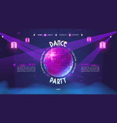 dance party cartoon landing page with disco ball vector image