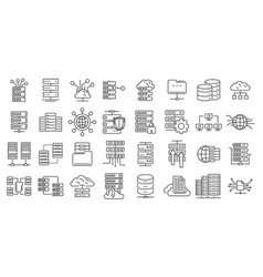 Data center icons set outline style vector
