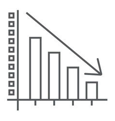 Decrease thin line icon reduction and analytics vector