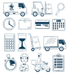 Delivery service set icons vector