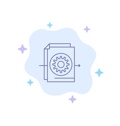 document file gear settings blue icon on abstract vector image
