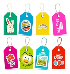 Easter Paper Labels Set Isolated on White vector image