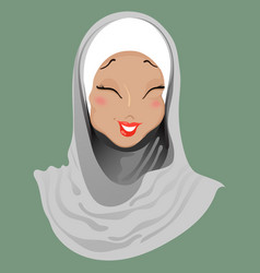 Emoticon muslim girl laugh vector