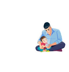 father and son taking selfie cute cartoon isolated vector image