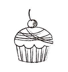 Figure muffin with cherry icon vector