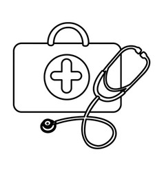Figure suitcase health with stethoscope icon vector