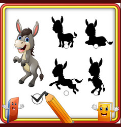 find the correct shadow cartoon funny donkey stan vector image