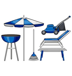 Gardening tool and BBQ stove vector image