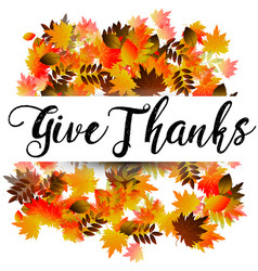 Give thanks typography and background design vector