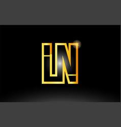 gold black alphabet letter ln l n logo vector image