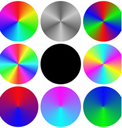 Gradient rainbow circle color palette set vector image