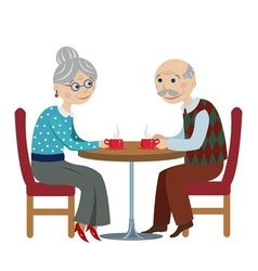 Grandfather and grandmother drink tea vector