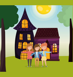 Group women hugging in front country vector