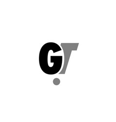 Gt g t black white grey alphabet letter logo icon vector