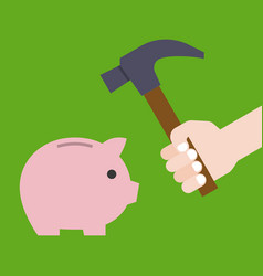 Hand holding hammer prepare for crashing piggy vector