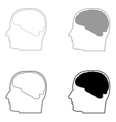 Head with brain the black and grey color set icon vector