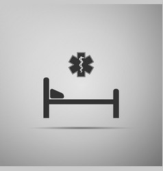 Hospital bed with star of life icon isolated vector