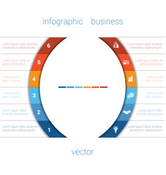 infographic strips and semicircle 6 vector image