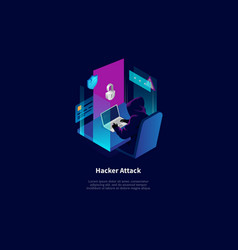 Isometric composition in cartoon 3d style vector