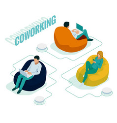 isometric coworking space with creative people vector image