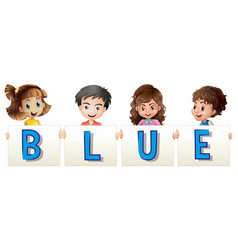 Kids holding sign for blue vector