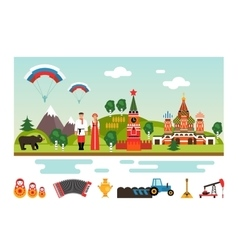 Landmarks and symbols of Russia vector image