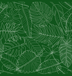 leaves tropical plants green and white outline vector image