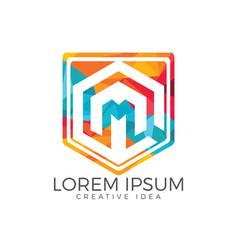 letter m shield logo design vector image