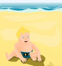 Little child playing on the beach vector image