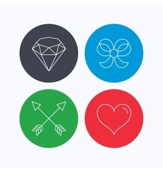 Love heart brilliant and bow-knot icons vector image