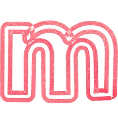 Lowercase letter m drawing with Red Marker vector
