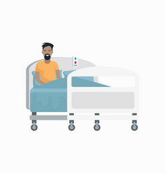 Male patient on hospital bed vector
