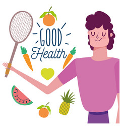 Man with fruits vegetables food healthy life vector