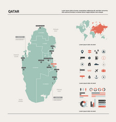 Map qatar high detailed country map vector
