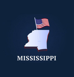 mississippi state isometric map and usa national vector image