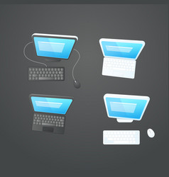 Modern computers on the table collection vector