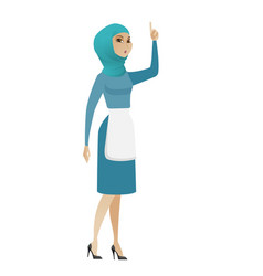 muslim cleaner with open mouth pointing finger up vector image