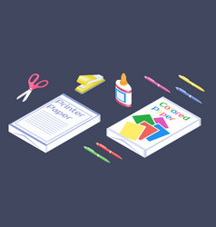 office supplies in 3d isometric style set of vector image