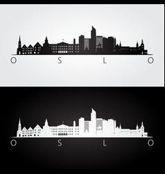 Oslo skyline and landmarks silhouette vector