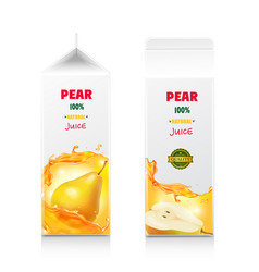 pear juice package design white carton pack box vector image